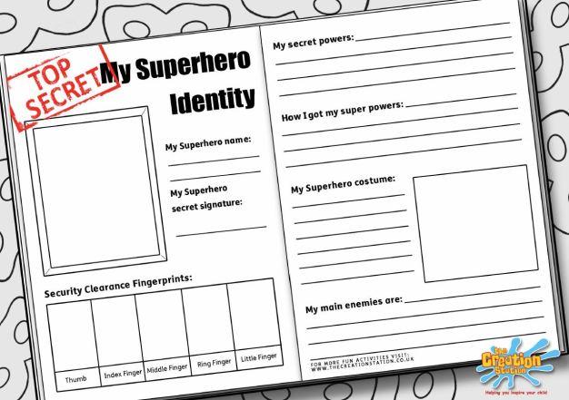 superhero identity sheet